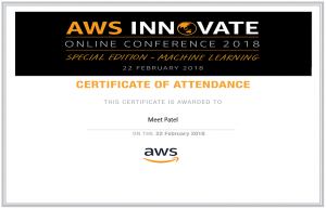 I (Meet Patel) attended AWS Innovate Online Conference and got Certificate.